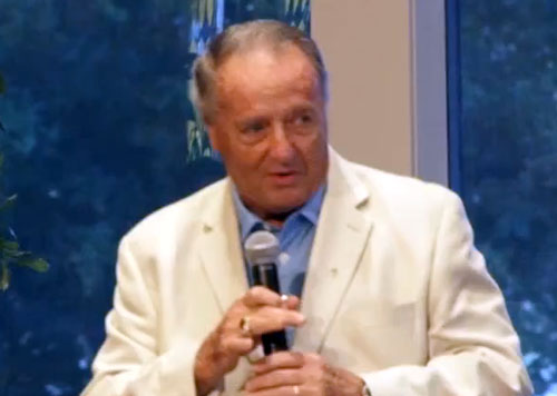 Photo shows former Florida State head football coach, Bobby Bowden, speaking from the pulpit on Sept. 8, 2013 at Honey Lake Church and Worldwide Ministry.