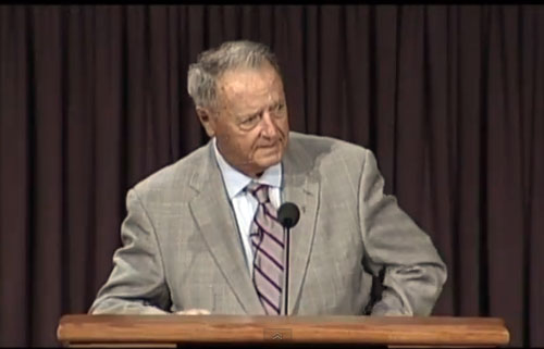 Photo shows Bobby Bowden speaking at North Florida Baptist Church in 2012..