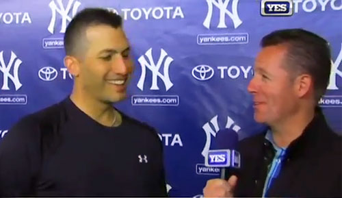 Photo shows Andy Pettitte speaking with Yankees Baseball Tonight on Feb 18, 2013 where he discusses his decision to return to the mound and his expectations for the season.