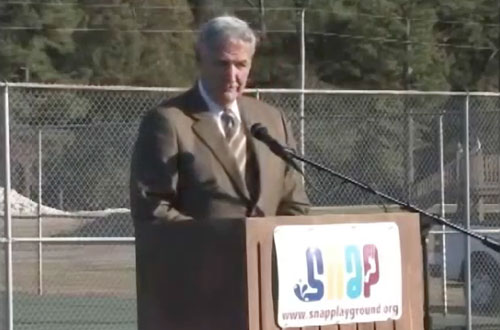 Photo shows former Alabama coach Gene Stallings speaking on November 2, 2008 at the Special Needs Accessible Playground (SNAP) of Morgan County in Hartselle, AL, dedicated in memory of his son John Mark Stallings.